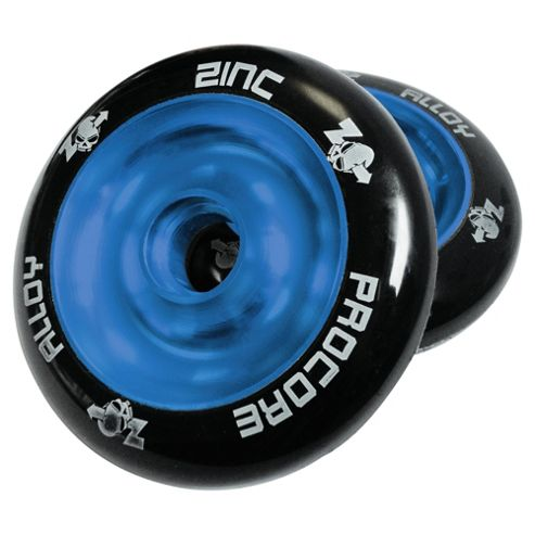 Pro Core 2 x 100mm Solid Cast Alloy High-Bounce Scooter Wheels, Blue