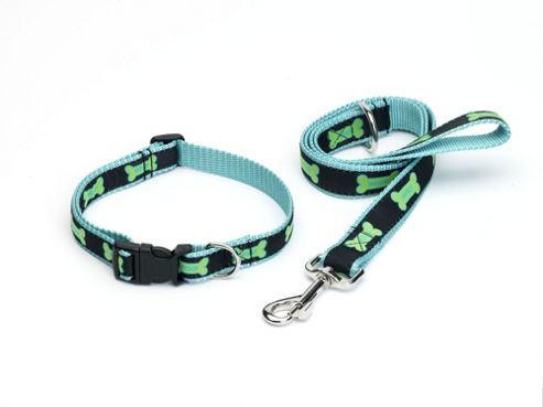 House of Paws Woof Bone Dog Lead in Blue - Small (100cm L x 1.5cm W)