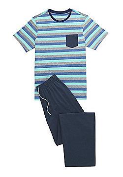 F&F Striped Top Loungewear Set - Blue & Grey