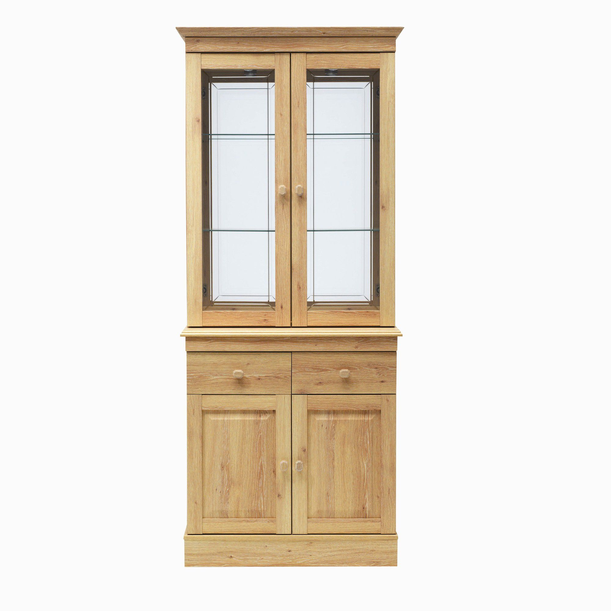 Caxton Driftwood Two Glazed Door Display Cabinet in Limed Oak at Tesco Direct