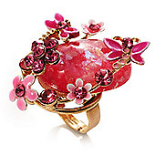 Exquisite Flower And Butterfly Cocktail Ring (Gold And Pink)