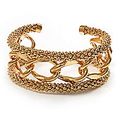 Gold Plated Mesh Chain Flex Bangle Bracelet