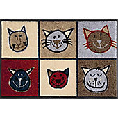 Wash & Dry by Kleen-Tex Meow Flat Bordered Rug - 50cmx75cm