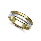 Jewelco London Bespoke Hand-Made 9 carat Yellow & White Gold 6mm Flat Court Wedding / Commitment Ring,