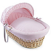 Clair de Lune Natural Wicker Moses Basket (Soft Cotton Waffle Pink)