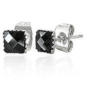 Urban Male Square 5mm Black CZ Stud Earrings In Stainless Steel