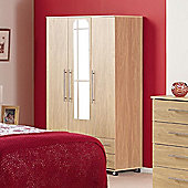 Ideal Furniture Bobby Triple Wardrobe with 2 Drawer and Mirror - Beech