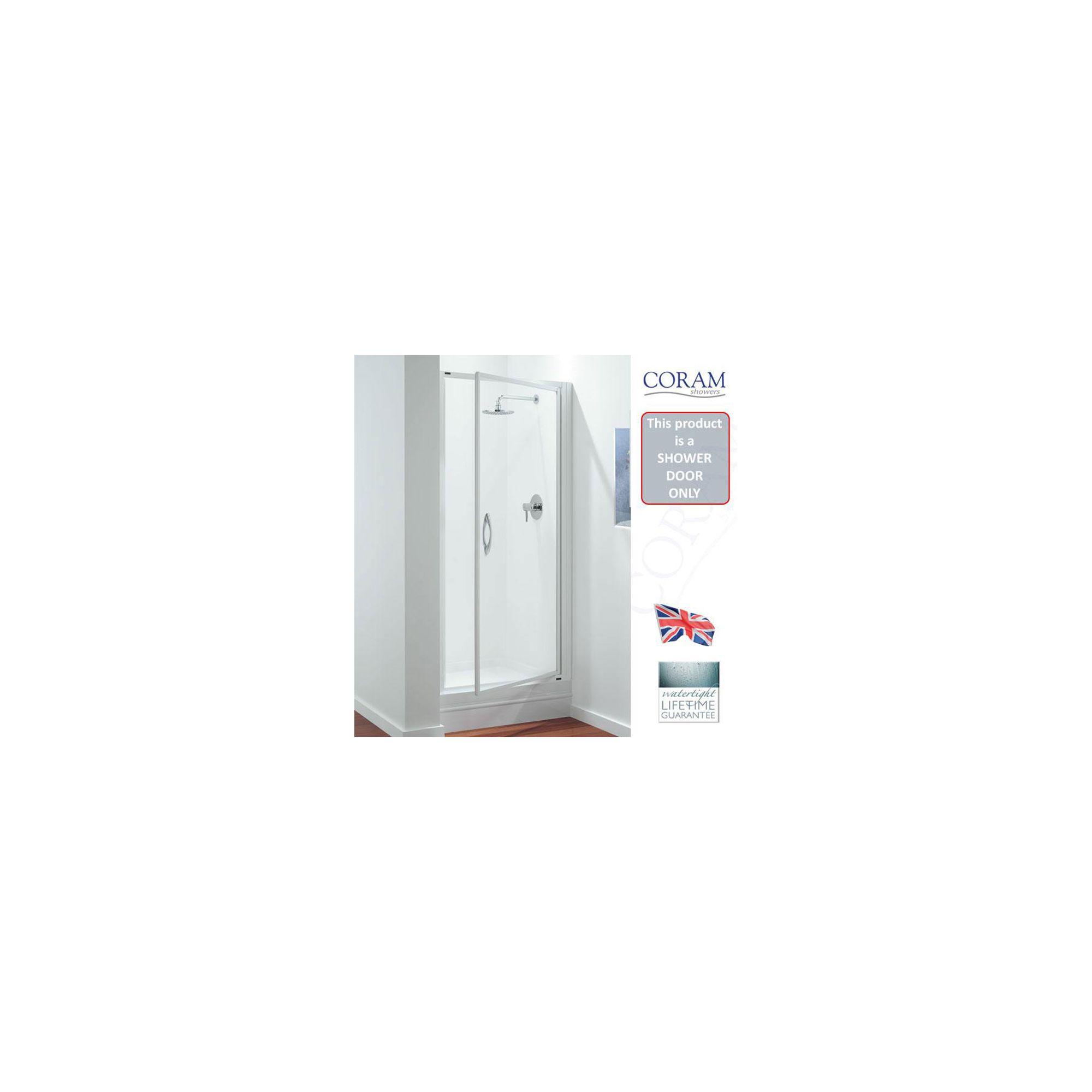 Coram Premier Pivot Shower Door, 900mm Wide, Polished Silver Frame, 6mm Plain Glass at Tesco Direct