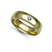 Jewelco London 18ct Yellow Gold 6mm Court Mill-Grain Diamond set 8pts Solitaire Wedding / Commitment Ring