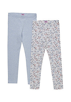 F&F 2 Pack of Butterfly and Plain Leggings - Multi