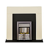 Adam Miami Black & Cream Electric Fireplace Suite