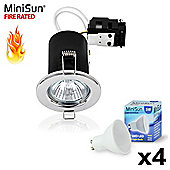 Pack of 4 MiniSun Fire Rated 5W LED GU10 Downlights in Chrome