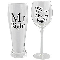 Mr Right and Mrs Always Right Glass Gift Set