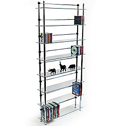 Maxwell - 8 Tier Dvd / Blu-ray / Cd / Media Storage Shelves - Clear / Silver
