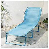 Folding Sun Lounger, Aqua