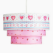 Shabby Chic Style Three Tiered Ceiling Light Shade with Hearts & Flowers Design