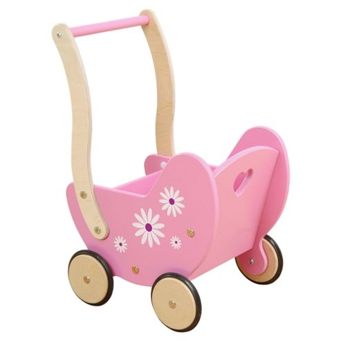 Millhouse Daisy Wooden Dolls Pram, Pink
