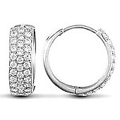 Jewelco London 9ct White Gold huggie hoop Earrings pave-set with 3 rows of brilliant cut CZ stones