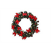 Homegear 75Cm Pre-Lit Christmas Wreath Holiday Door Decor Mesh With Berries