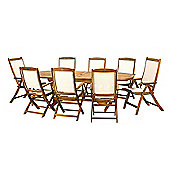 Edinburgh 9pc Dining Set - Edinburgh 240cm Extension Table V Leg, 2 Henley Recliners, 6 Highback AC