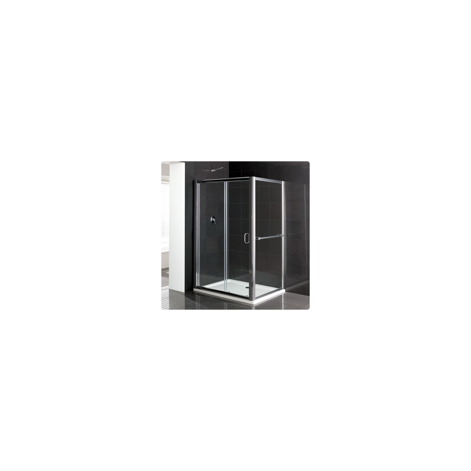 Duchy Elite Silver Sliding Door Shower Enclosure with Towel Rail, 1200mm x 760mm, Standard Tray, 6mm Glass at Tesco Direct