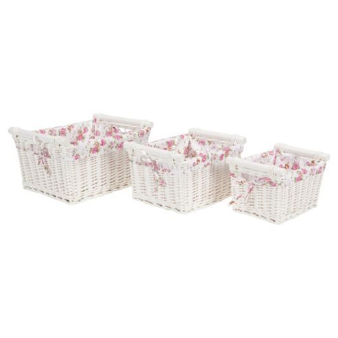 Tesco White Wicker Lined Baskets With Wooden Handles