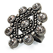 Vintage Style Crystal Diamond Ring (Antique Silver Finish)