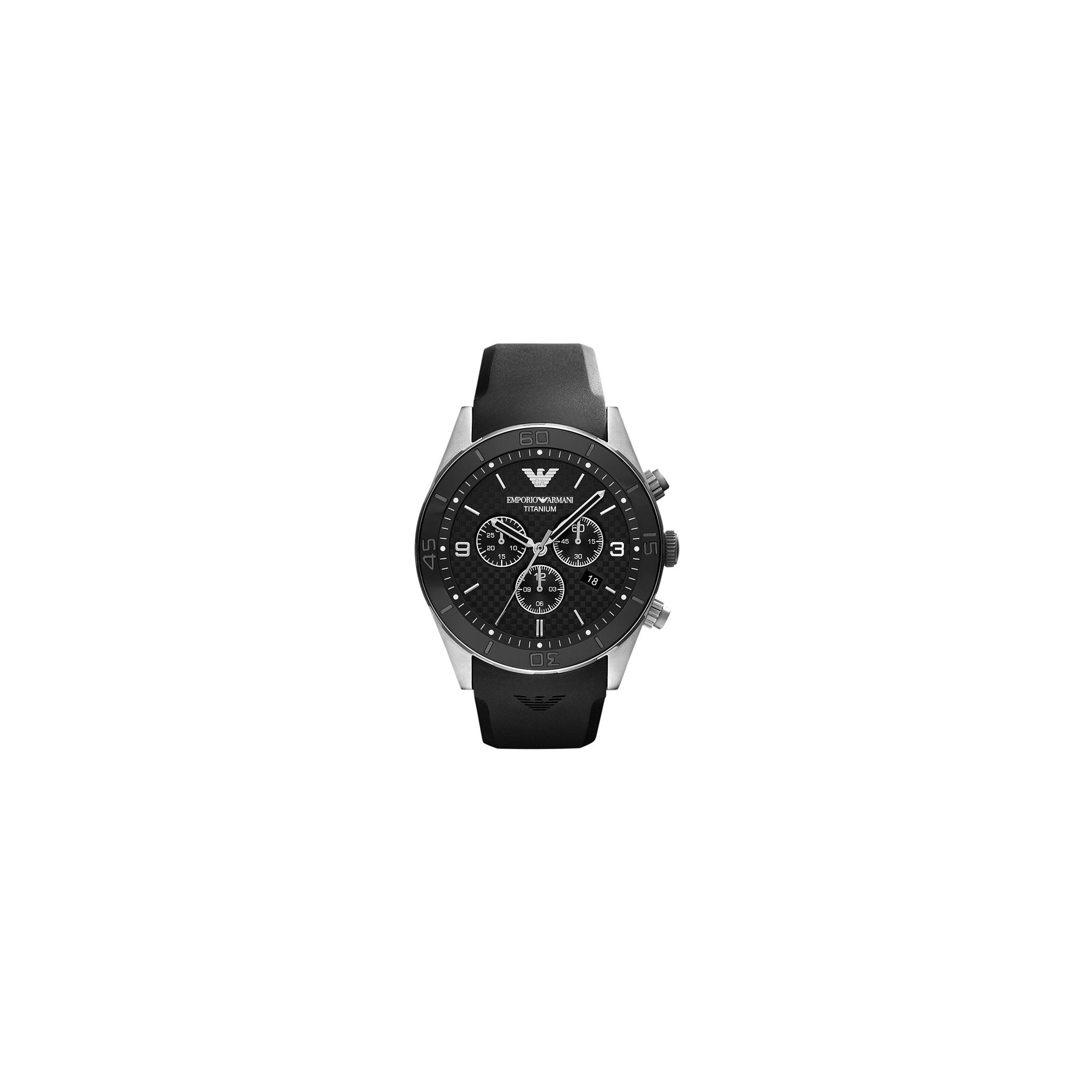 Emporio Armani Gents Black Rubber Strap Chronograph Watch AR9500 at Tesco Direct