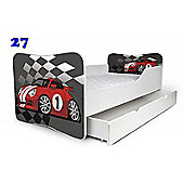 Toddler Bed With Drawer and Mattress - Racing Car (Large)