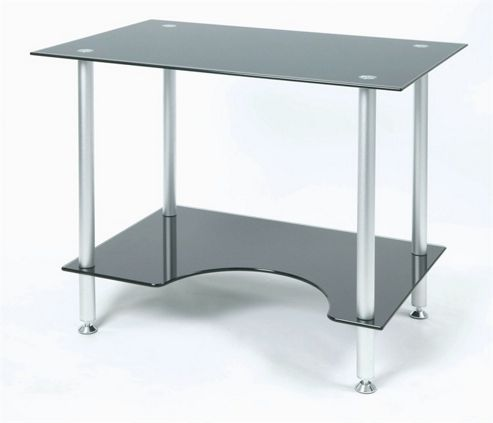 Jual Furnishings Small Computer Desk in Silver with Black Glass