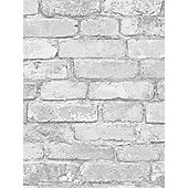 White and Silver Rustic Brick Effect Wallpaper - Windsor Wallcoverings FD41488