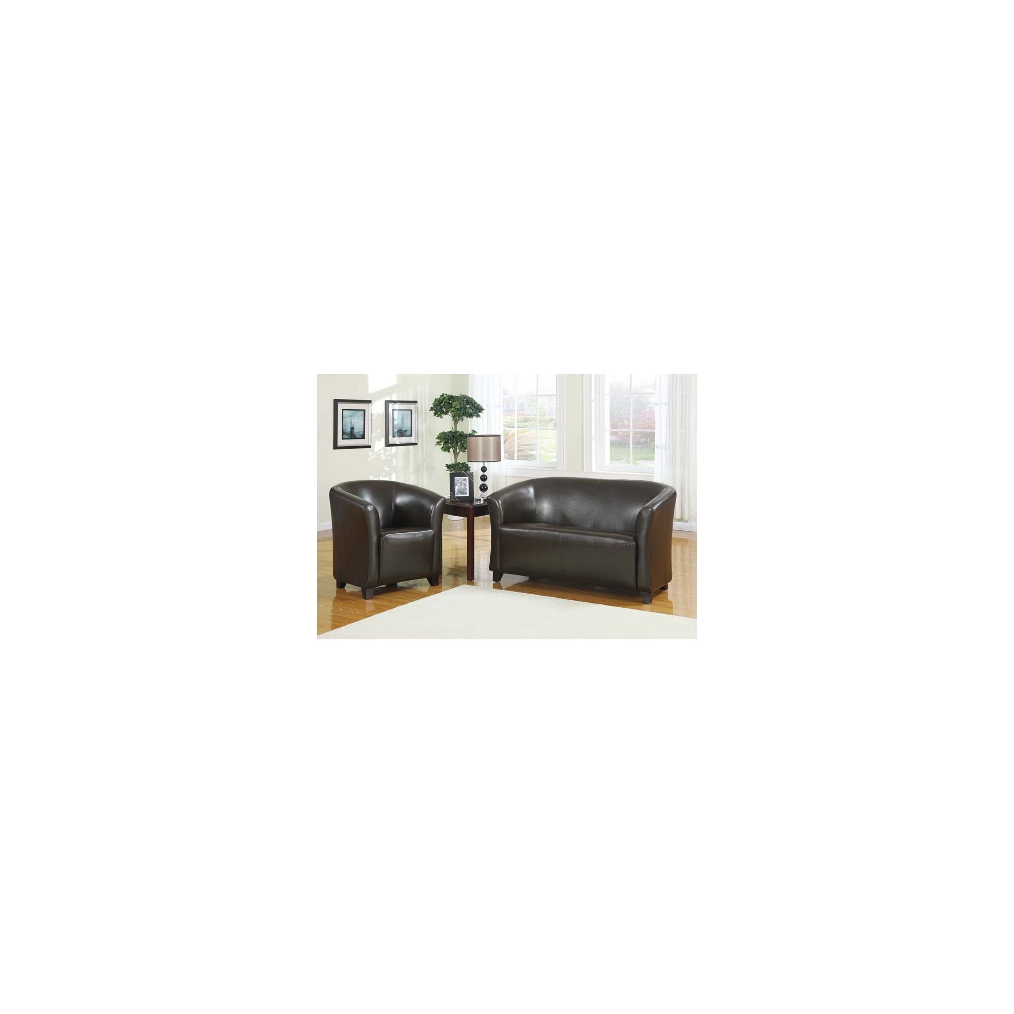 Hawkshead Club Leather Two Seater Sofa in Dark Brown at Tescos Direct
