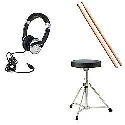 JB's Music Electronic Drum Kit Pack 1 - Includes Stool, Sticks, Headphones. Designed for Alesis DM Lite, Roland TD1K, Roland TD1KV, Alesis DM6 USB