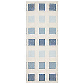 Swedy Cubo White / Blue Rug - Runner 60 cm x 190 cm (2 ft x 6 ft 3 in)