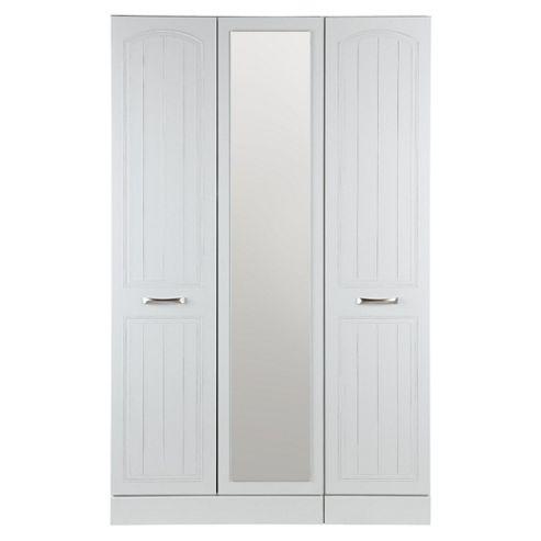 Tenby Triple Wardrobe With Mirror, White