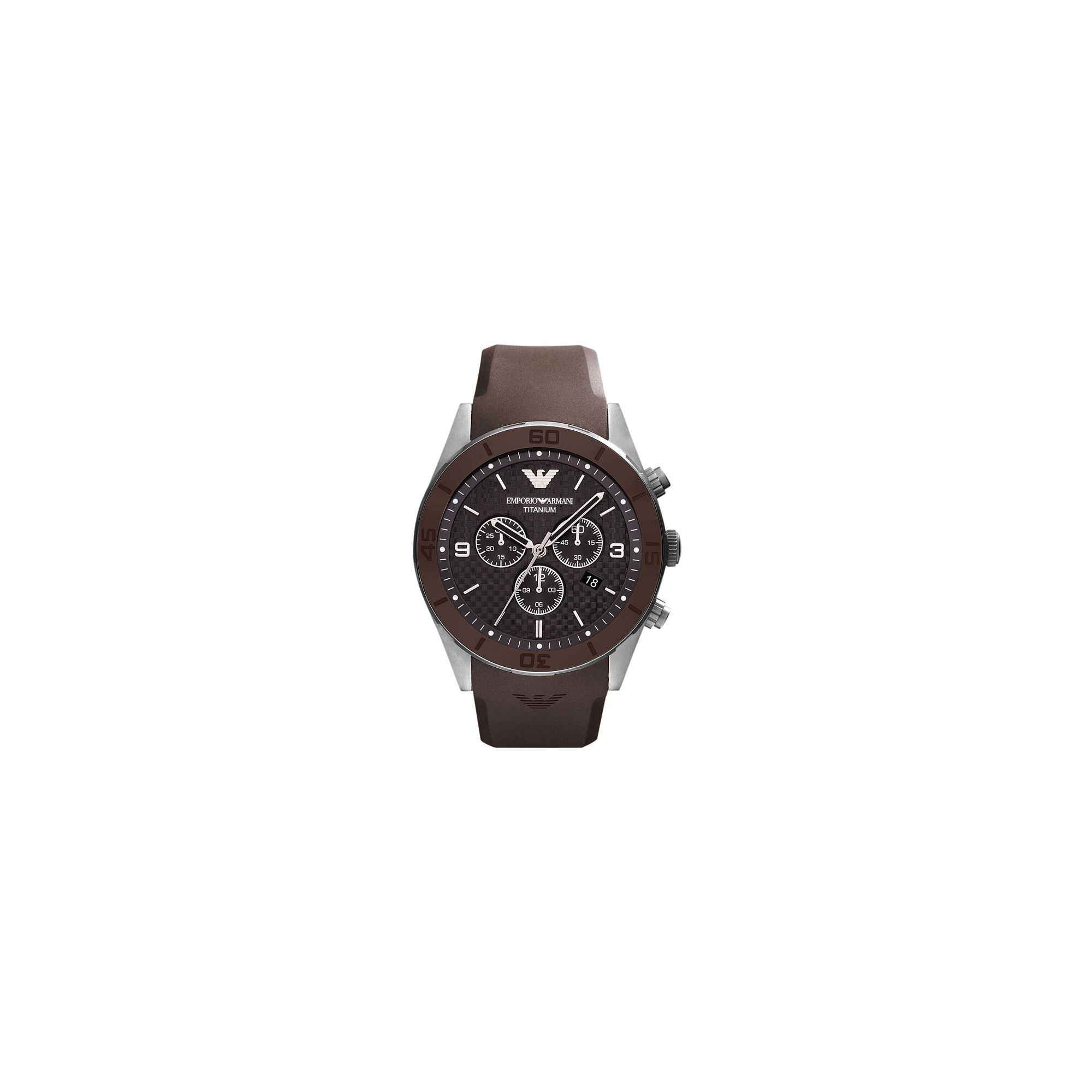 Emporio Armani Gents Brown Rubber Strap Chronograph Watch AR9501 at Tesco Direct