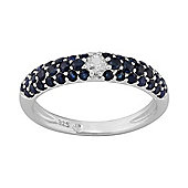 Gemondo Sterling Silver 0.97ct Natural Sapphire Pave Set Half Eternity Style Ring