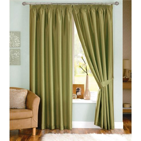 Dreams and Drapes Java 3 Pencil Pleat Lined Faux Silk Curtains (inc. t/b) 46x54 inches (117x137cm) - Moss