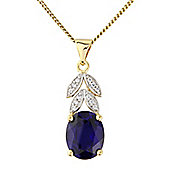 Sterling Silver and 9ct Gold Overlay Created Sapphire Pendant with Chain