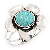 Large Turquoise Flower Hinged Bangle Bracelet (Antique Silver)