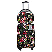 Tesco  4-Wheel Hard Shell Black Floral Vanity and Cabin Case