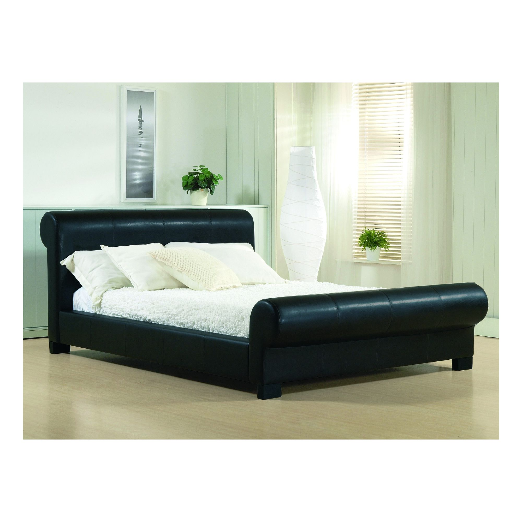Altruna Valencia Faux Leather Bed Frame - King - Black at Tesco Direct