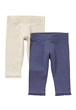 F&F 2 Pack of Lace Trim Leggings - Multi