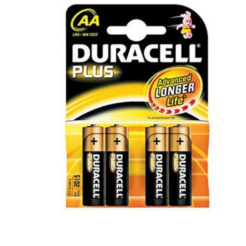 Duracell Plus Long Life Alkaline AA Batteries 4 Pack