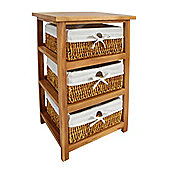 Premier Housewares Storage Unit with Three Maize Baskets - Natural