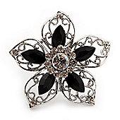 Silver Tone Filigree Black Diamante Flower Cocktail Ring - 5cm Diameter