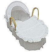 Cuddles Collection Broderie Anglais Moses Basket (White)