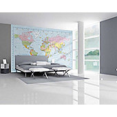 1Wall Giant Political World Map Wall Mural