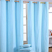 Homescapes Cotton Plain Blue Ready Made Eyelet Curtain Pair, 117 x 137 cm