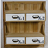 Draft - Wall Mounted Wood Storage Shelf / Drawers - Brown / White